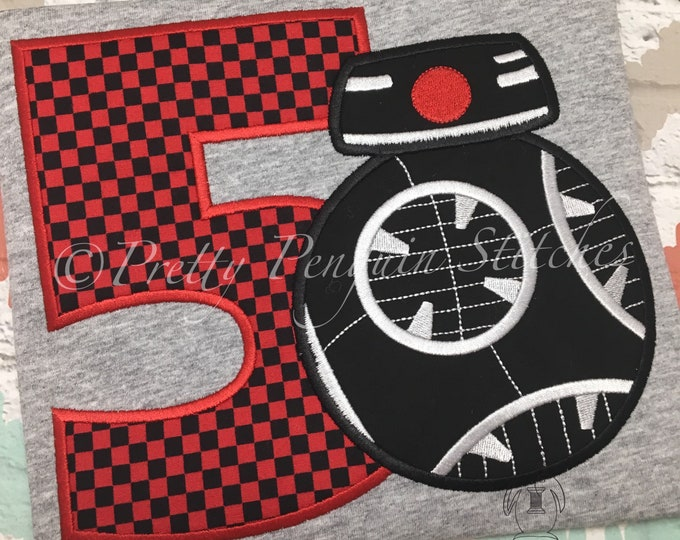 Droid Birthday Shirt- BB9-Inspired Birthday Shirt- Star Wars themed- Family Vacation- Applique- Embroidered