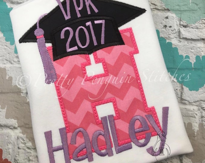 Kindergarten Graduation Personalized Shirt- Pre-K Graduation, End of School Year, Graduation Cap Shirt, Personalized, Pink/Lavender
