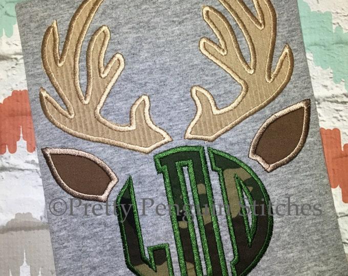 Antlers Monogram Kids Shirt, Hunting Season, Reindeer, Daddy Hunting Buddy, Deer Season, Applique, Personalized