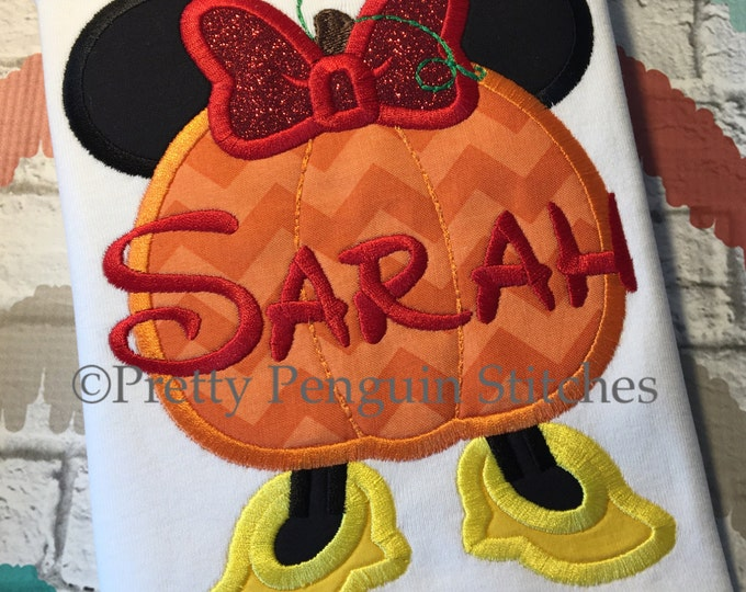 Miss Mouse Pumpkin Shirt, not so scary, halloween, Party, holiday vacation, EMBROIDERED