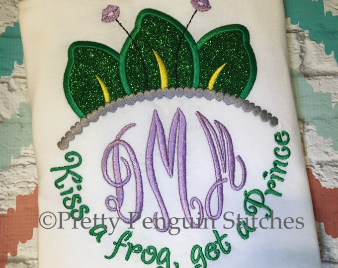 Tiana-inspired Monogram shirt- Kiss a Frog, Get a Prince- Personalized shirt- Family Vacation Shirt- Princess- Embroidered- Monogrammed