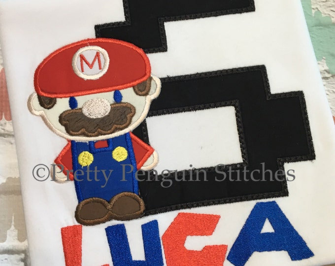 Mario-Inspired Birthday Shirt- Video Game Birthday- Plumber Brothers- Personalized shirt- Embroidered- Monogrammed