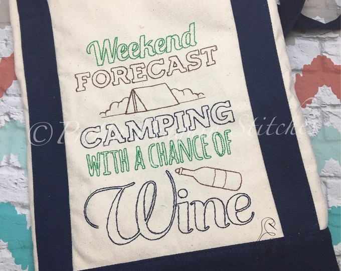 Camping Tote Bag, Weekend Forecast Camping with a Chance of Wine; adult camping tote bag