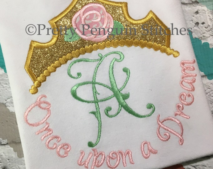 Sleeping Beauty-inspired Monogram shirt- Once upon a dream- Family Vacation- Princess- Applique- Embroidered