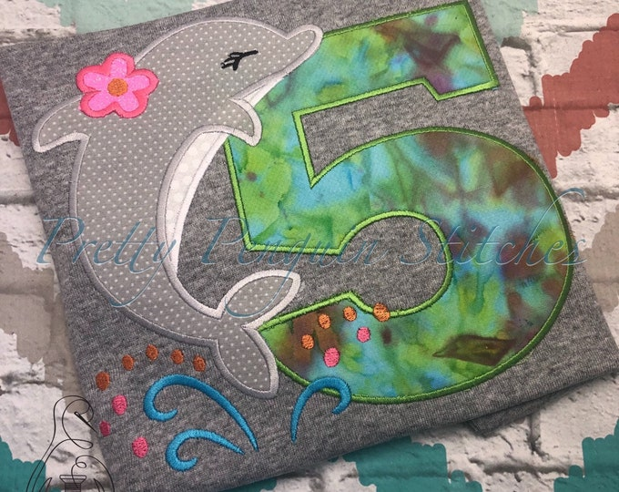 Dolphin Birthday Shirt- Beach birthday - summer birthday - cruise shirt - personalized - applique - embroidery