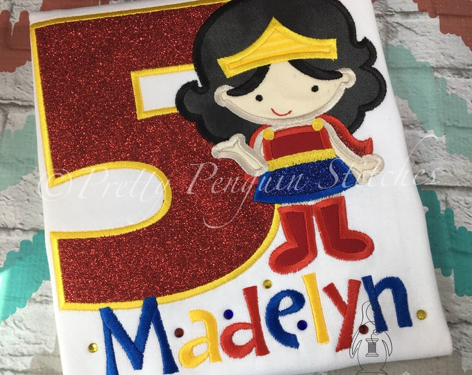 Girl Superhero Birthday Shirt- Wonder Girl Hero- Applique- Embroidered- Monogrammed- Strong Girl Birthday