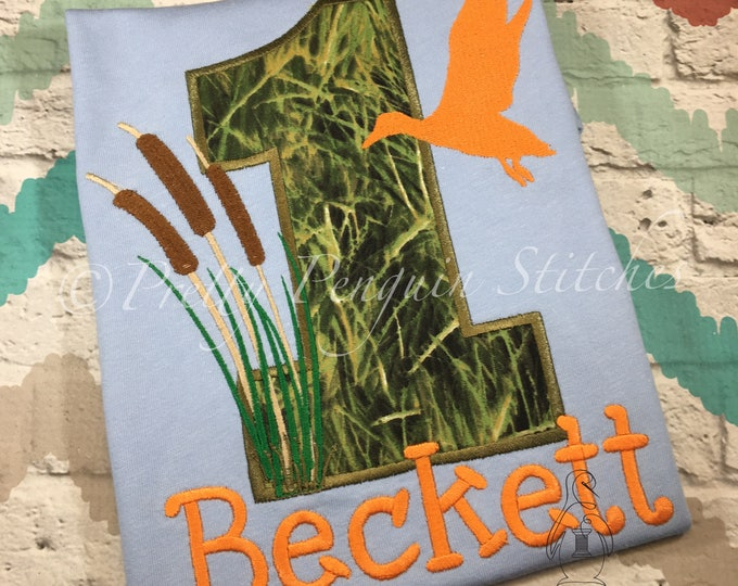 Duck Hunting Birthday Shirt- Cat tails- Hunting Birthday Party- Duck Call- Embroidered- Applique- Personalized- Custom