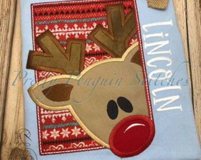 Peeking Reindeer holiday Shirt - Appliqued Christmas Shirt - Christmas Shirt
