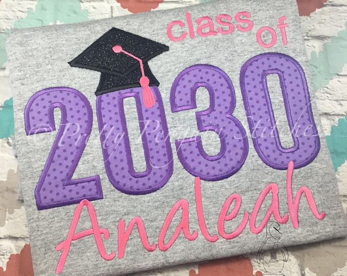 Kindergarten Graduation Shirt- Purple Polka Dot- End of School Year Shirt- Pre-K Graduation- Class of Shirt- Embroidered- Monogram- Applique