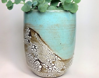 Succulent Planter, Ceramic Flower Pot, Pottery Planter, Green Cactus Pot, Stoneware Planter, Rustic Pot, Has Drainage Holes, MADE TO ORDER