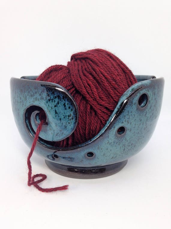 Crawl Glaze Pottery Celadon Yarn Bowl Yarn Holder Yarn Dispenser Crochet Yarn Bowl MADE TO ORDER Yarn Storage Green Knitting Bowl
