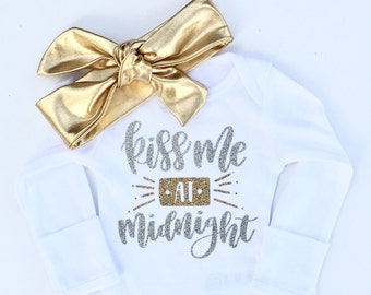 Baby Girl New Year Outfit, Kiss me at Midnight, Girls New year Shirt, baby girl new year shirt, my 1st new year, my first new year
