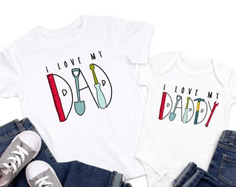 Father's Day gift for dad, I love my daddy, I love my dad, fathers day tshirt for baby, baby boy fathers day bodysuit