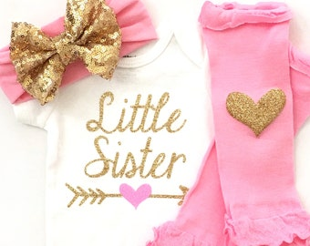 Little Sister Outfit, Baby Sister Outfit, Baby Girl Clothes, Sibling Shirts, Sibling Outfit, Sister Outfit, Personalized Baby Girl Outfit