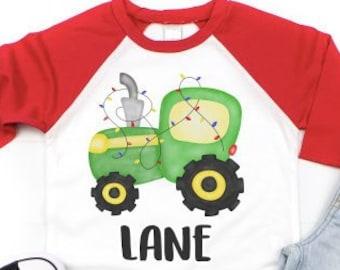 0cf37a60f Christmas Tractor Shirt, Boys Christmas Shirt, kids christmas shirt, girls  christmas shirt, holiday shirt, baby Christmas shirt, Santa shirt