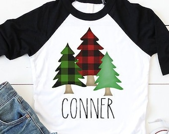 Buffalo Plaid Christmas Shirt, kids christmas shirt, boys christmas shirt, girls christmas shirt, personalized christmas shirt, lumberjack