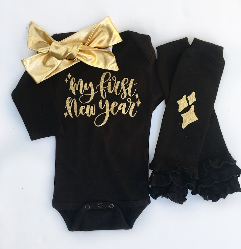 0f643cc53a480 My First New Year Baby Girl New Years Outfit My 1st New Year | Etsy