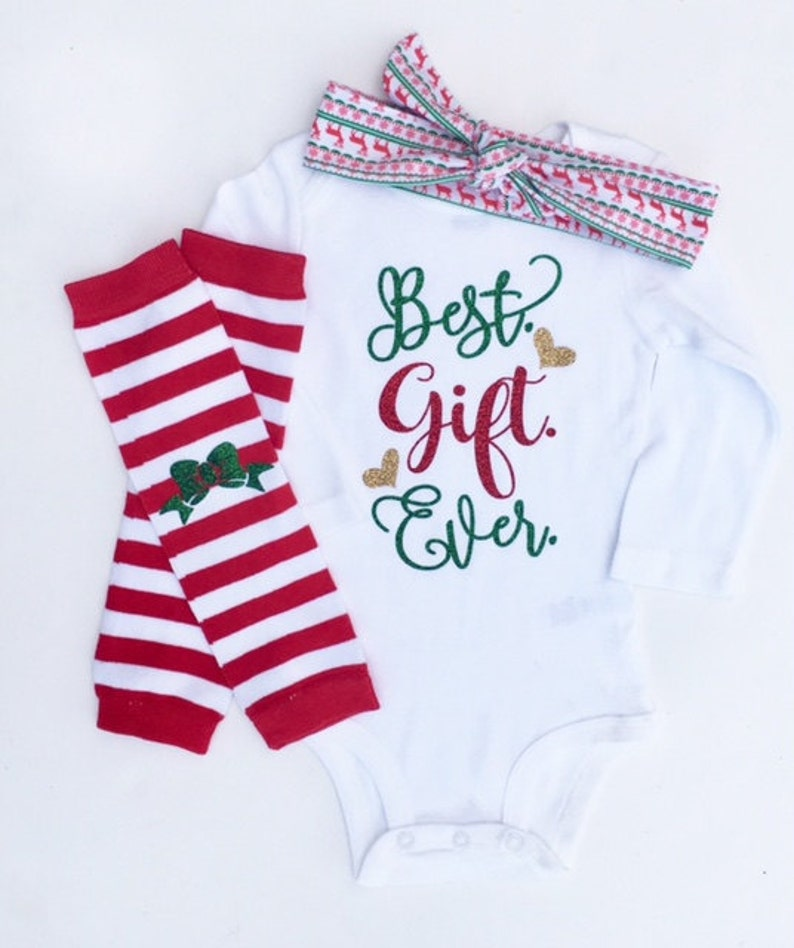 76de2f455 Best Gift Ever Outfit Newborn Christmas Outfit Baby Girl | Etsy