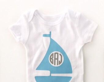 Boy Nautical Monogram Outfit, Baby Boy Monogram, Newborn Outfit, Baby Boy Take Home, Newborn Take Home, Nautical Theme, Boys Sailboat Shirt