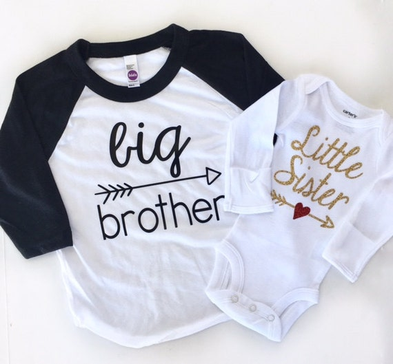 Cotton Tshirt and Bodysuit Big Brother Little Sister Set Camera Tshirts Screenprint Shirts Photographer Babies Sibling Youth Cloghing