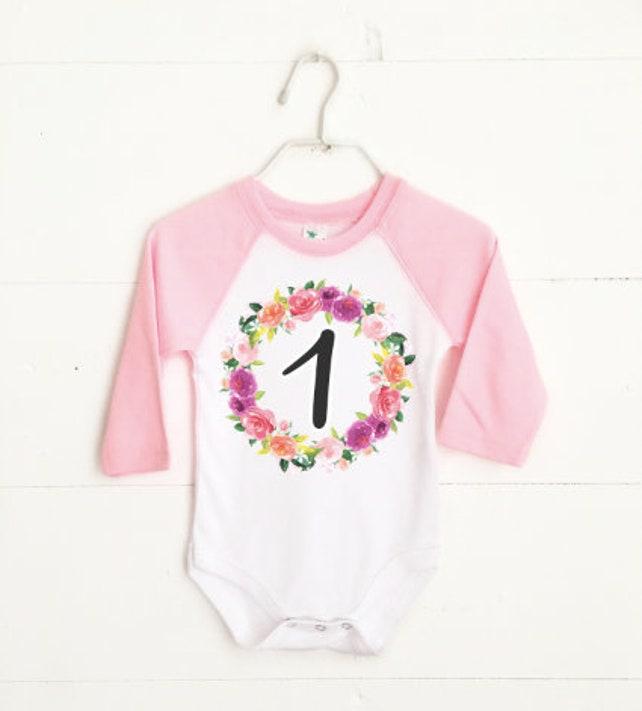db3b5076 Baby Girl First Birthday Outfit, Garden Birthday Party, First Birthday  Outfit, Pink Raglan, First Birthday Photoshoot, Floral Birthday Party