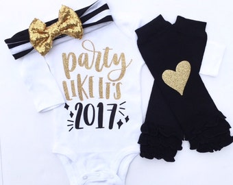 New Year Outfit Baby Girls, Party like it's 2017, Girls New year Shirt, baby girl new year shirt, my 1st new year, my first new year