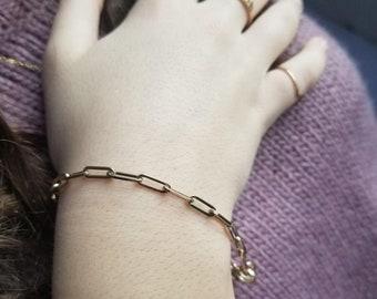 Link Bracelet, 14K Solid White Gold Paper Clip Bracelet, Paper Clip Link Bracelet,  3.5mm Paper Clip Bracelet, Elongated Chain Bracelet