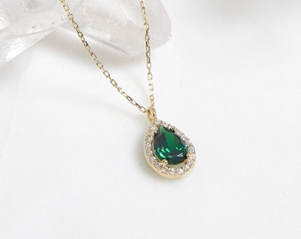 14K Solid Yellow Gold Emerald Necklace ,Diamond CZ Emerald Necklace, May Birthstone, Pear Shape Emerald Necklace,Green Emerald, Gift for Her