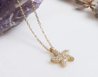 14K Solid Yellow Gold Starfish Necklace, Dainty Starfish Necklace, Diamond CZ Starfish Necklace,Minimalist Starfish Necklace, Gifts for Hers