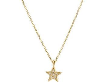 Diamond Star Necklace / 14K Gold Diamond Star Necklace / Dainty Star Necklace/ Solid Yellow Gold Star Necklace/Mini Star/ Christmas