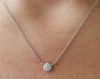 Diamond Circle Necklace / 14K Gold Diamond Circle Necklace / Diamond Necklace / Dainty Diamond Necklace