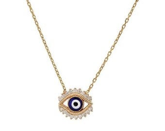 Custom Made for Katy, 4 Evil Eye Necklaces, 14K Solid Yellow Gold Evil Eye Necklace, Dainty Evil Eye Necklace, Protection Necklace
