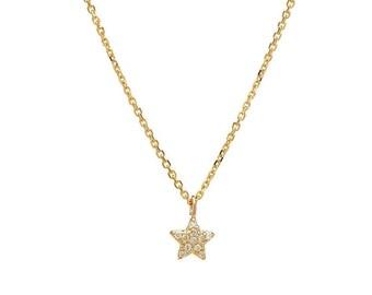 Diamond Star Necklace / 14K Gold Diamond Star Necklace / Dainty Star Necklace / Solid Yellow Gold Star Necklace
