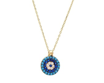 14K Gold Evil Eye Necklace / Beaded Turquoise Evil Eye Necklace /  Dainty Evil Eye Necklace / Evil Eye Necklace