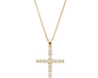 14K Solid Yellow Gold Diamond Cross Necklace / Diamond Cross Necklace