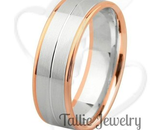 7mm 10K 14K 18K Solid White and Rose Gold Wedding Bands, Satin Finish Mens Wedding Ring, Two Tone Gold Wedding Bands, Mens Wedding Band