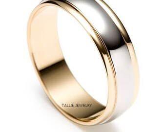 Two Tone Gold Wedding Bands, 6mm 10K,14K,18K White and Yellow Gold Mens Wedding Rings, Two Tone Mens Wedding Bands, His & Hers Wedding Rings