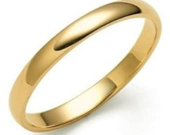 3mm 10K 14K 18K Solid Yellow Gold Wedding Bands, Mens Womens Plain Dome Wedding Rings
