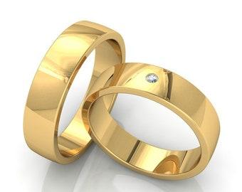 His & Hers Wedding Rings, Matching Wedding Bands , 10K 14K 18K Solid Yellow Gold Wedding Bands, Mens Womens Diamond Wedding Rings Set