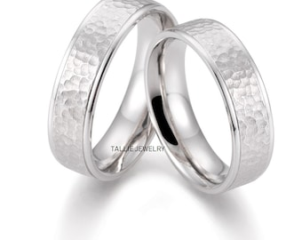 His & Hers Wedding Bands, Matching Wedding Rings, 10K 14K 18K Solid White Gold Hammered Finish Wedding Bands