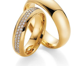 His & Hers Wedding Rings, Matching Wedding Bands , 10K 14K 18K Solid Yellow Gold Mens Womens Wedding Rings, Diamond  Wedding Bands