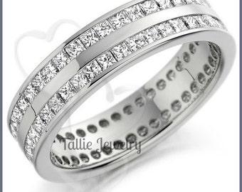 Diamond Eternity Wedding Rings,Diamond Eternity Wedding Bands,14K White Gold Diamond Wedding Rings,2.00ct Princess Cut Diamond Eternity Ring