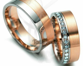 His & Hers Wedding Bands, Matching Wedding Rings Set, 14K White and Rose Gold  Diamond Wedding Bands, Two Tone Gold Wedding Rings