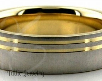 Two Tone Wedding Bands, 6mm 10K 14K 18K Solid White and Yellow Gold Brushed Finish Mens Womens Wedding Rings, Two Tone Gold Wedding Bands