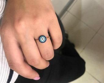 14K Gold Evil Eye Ring, Turquoise Evil Eye Ring, Gold Evil Eye Ring, Protection Ring, Turquoise Ring, Good Luck Ring,14k Solid Gold Evil Eye