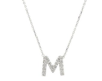 Diamond Initial Necklace / 14K Solid Gold Diamond Initial Necklace / Diamond Letter Necklace /  All Letters Available/ Letter M