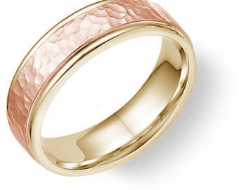Two Tone Gold Wedding Bands, 6mm 14K Yellow and Rose Gold Wedding Rings, Hammered Finish Mens Wedding Band, Two Tone Gold Mens Wedding Ring