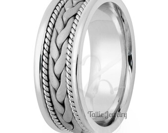 Platinum Mens Wedding Band, Platinum Mens Wedding Ring, Handmade Rope Braided Wedding Bands