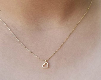 14K Solid Yellow Gold Heart Necklace / Minimalist Heart Necklace / Floating Heart Necklace /  Dainty Heart Necklace /  Gold Heart Necklace