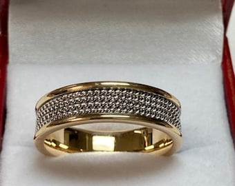 14K Solid White and Yellow Gold Mens Wedding Band, Handmade Rope Braided Mens Wedding Ring, Two Tone Gold Wedding Bands